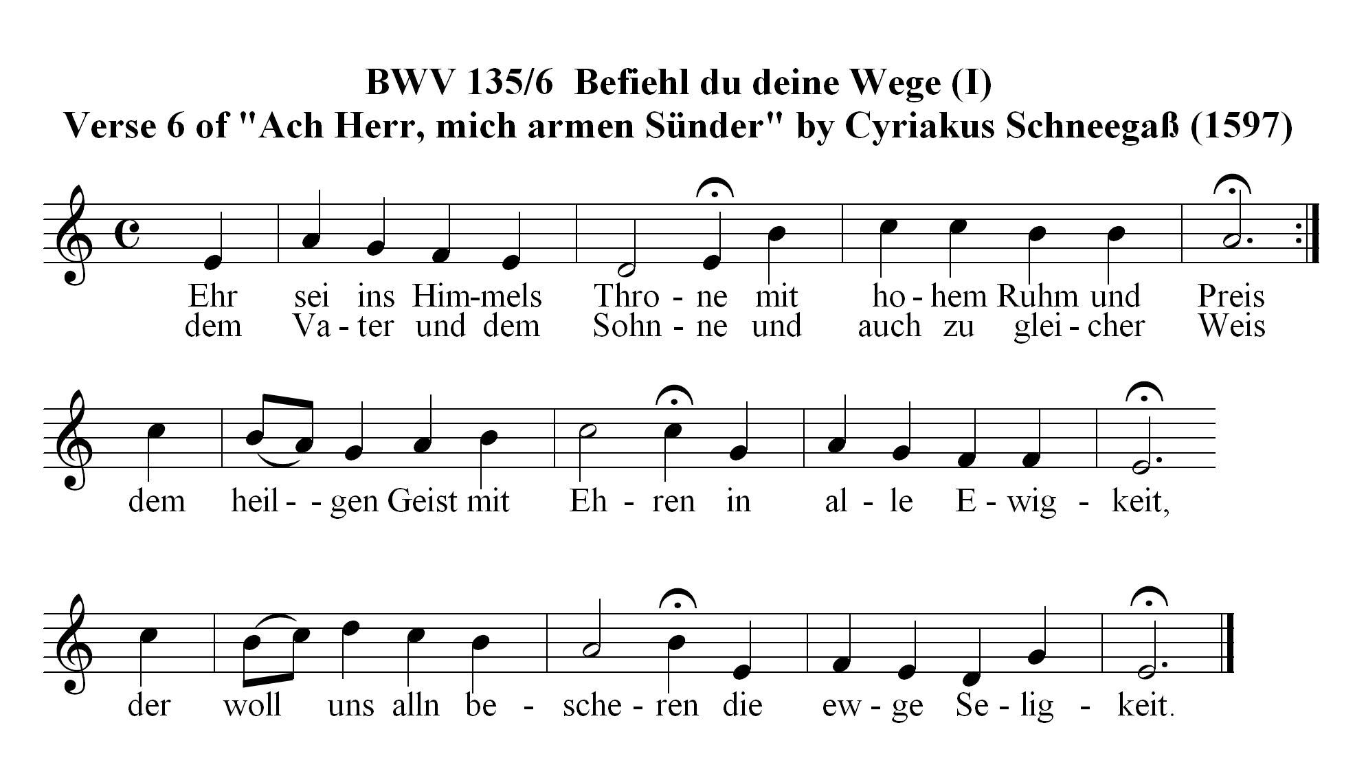 Chorale Melody: Befiehl du deine Wege