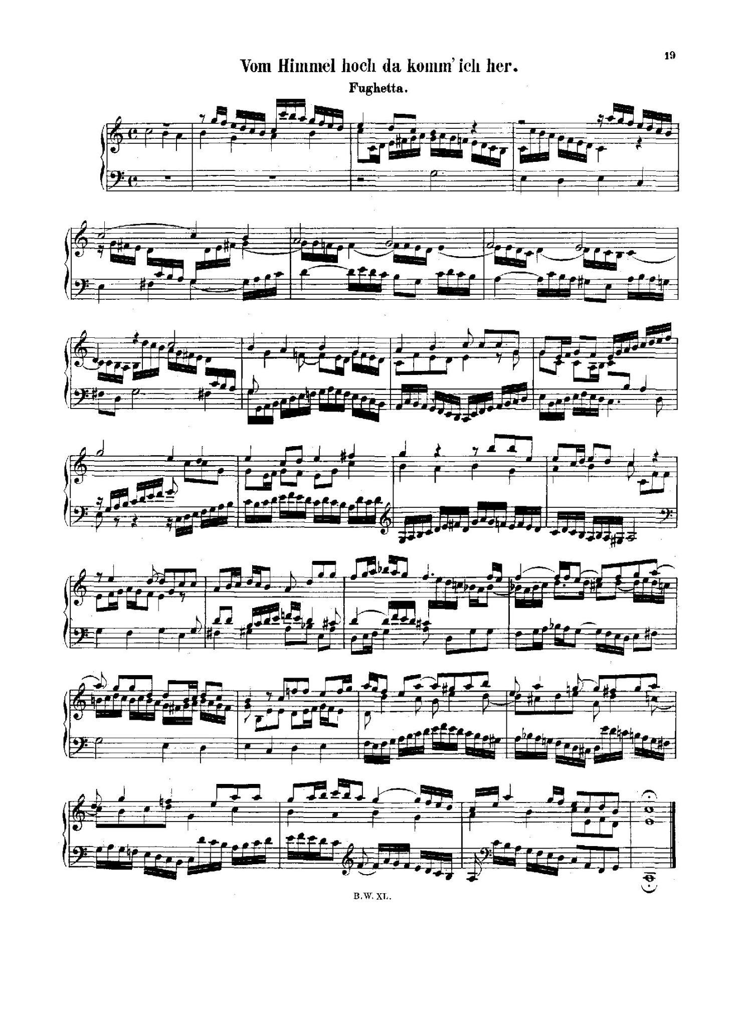 Vom Himmel hoch, da komm ich her BWV 769a - Organ