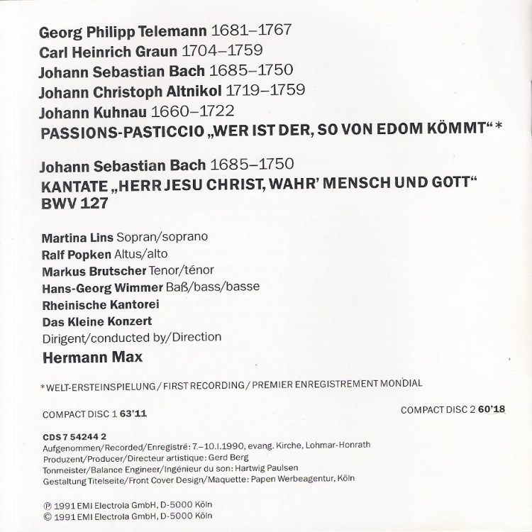 Cantata Bwv 127 Details Discography Part 1 Complete Recordings