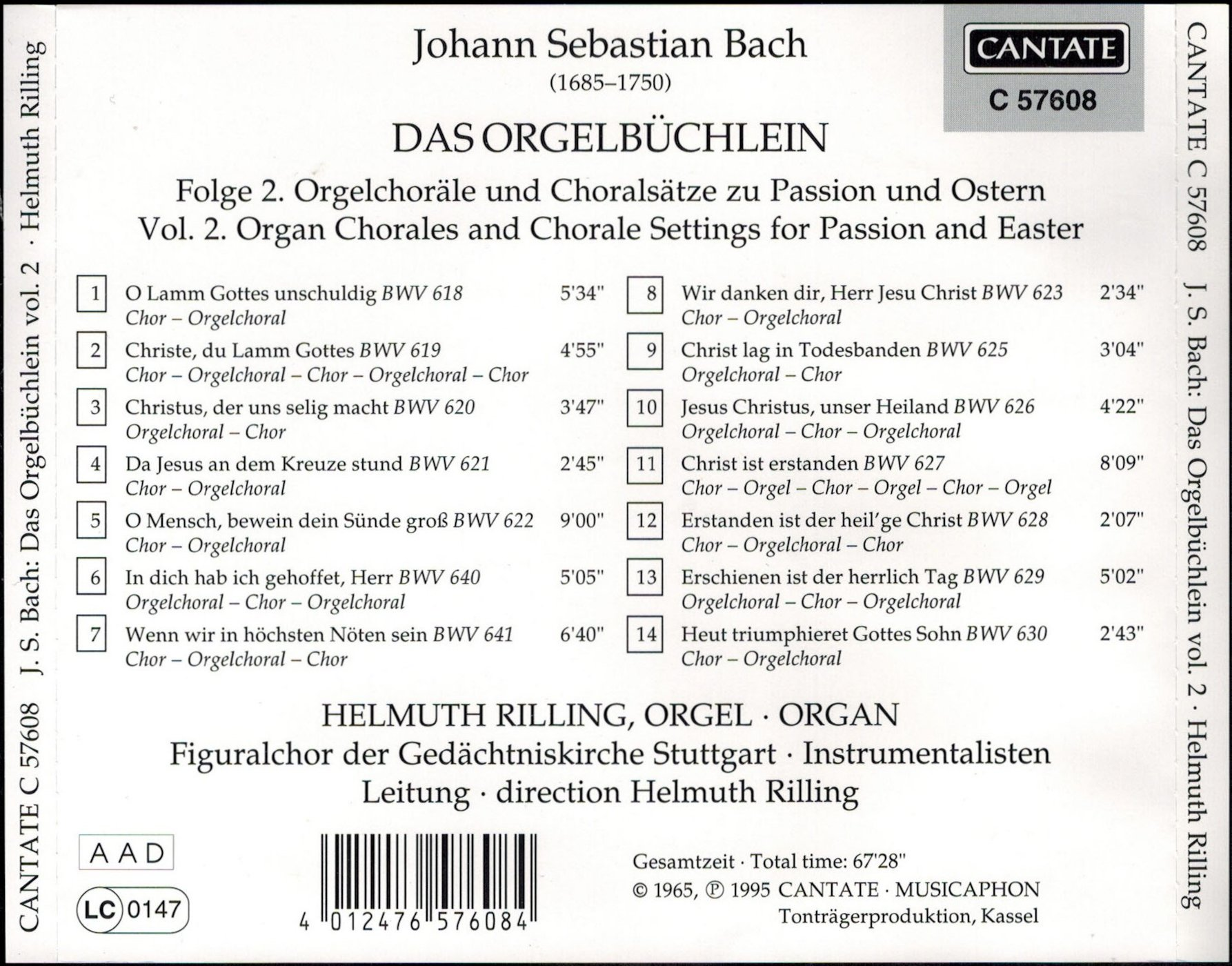 J.S. Bach: Das Orgelbüchlein II - Organ Chorales and Chorale settings for  Passion and Easter [CH-2]