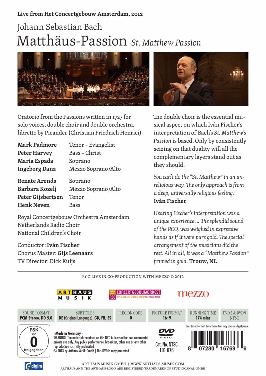 ... passion by bach at the concertgebouw j s bach matthäus passion