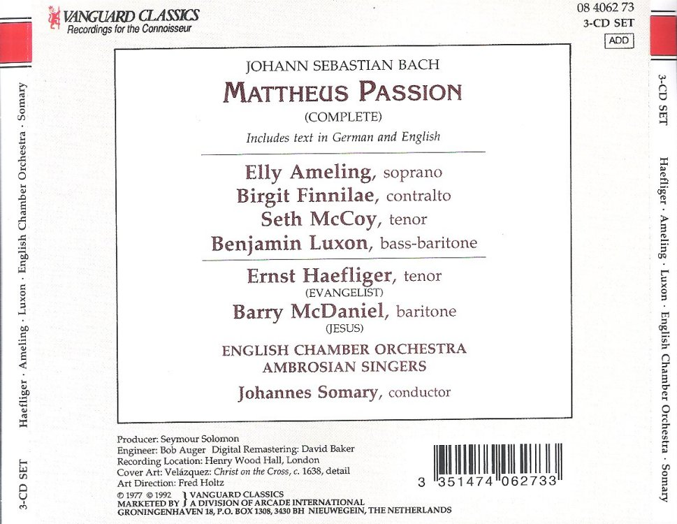 Johannes Somary & Amor Artis Chorale - Bach Cantatas & Other Vocal ...