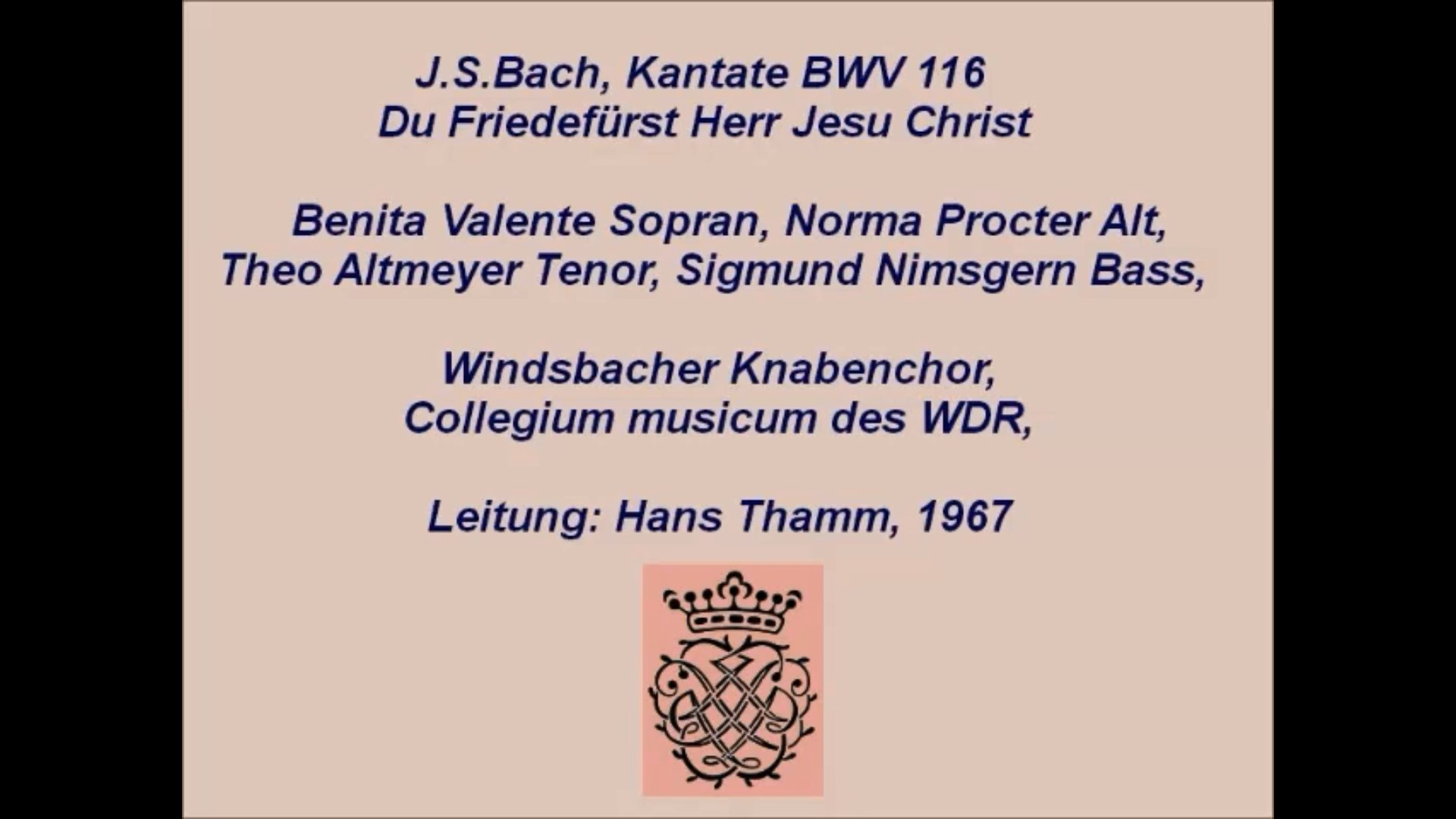 Cantata BWV 116 - Details & Discography Part 1: Complete