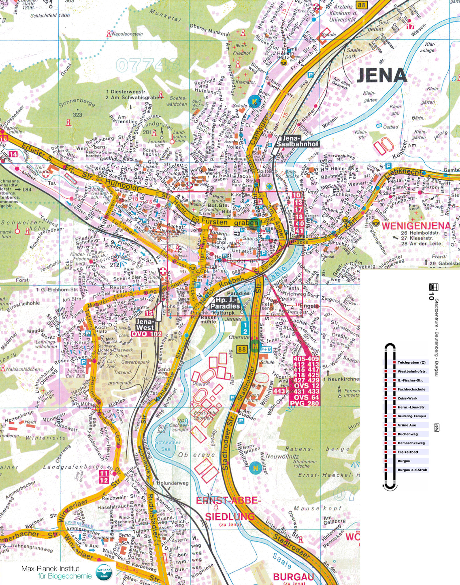 Guide to Bach Tour: Jena - City Map