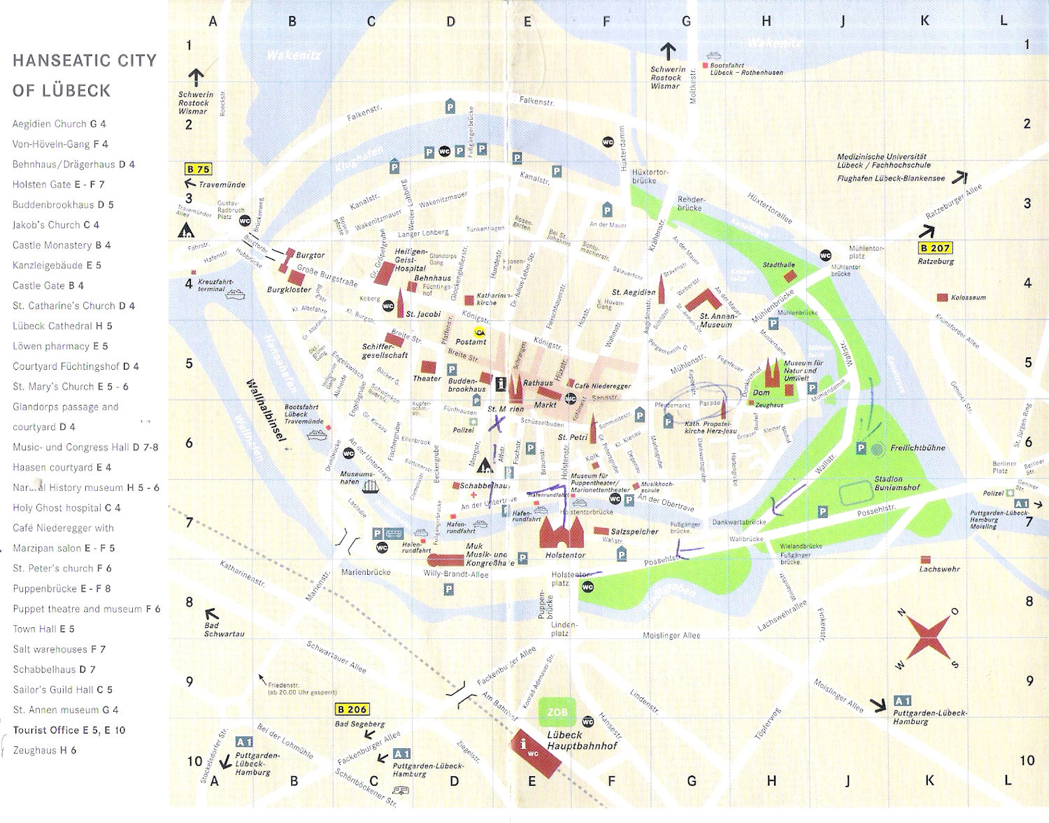 Guide to Bach Tour Lubeck Maps