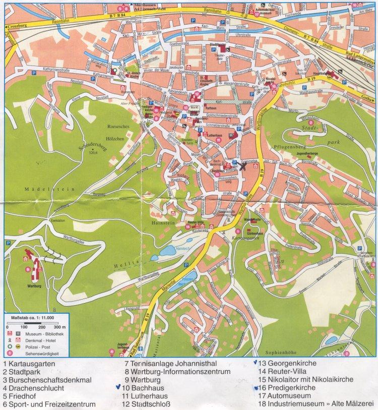 Guide to Bach Tour Eisenach Maps