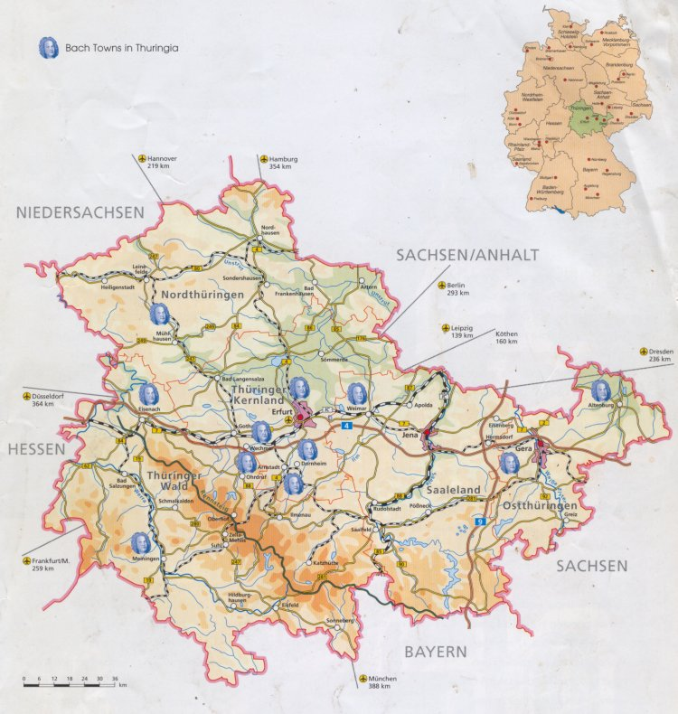 Guide To Bach Tour Maps - Germany map jena